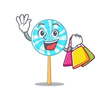 Cheerful lollipop cartoon character waving and holding shopping bag . Vector illustration