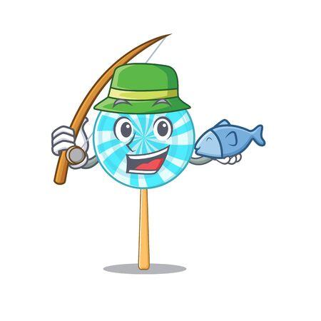 Vector illustration of lollipop in a fishing design. Vector illustration