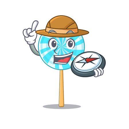 Explorer lollipop cartoon character holding a compass.Vector illustration