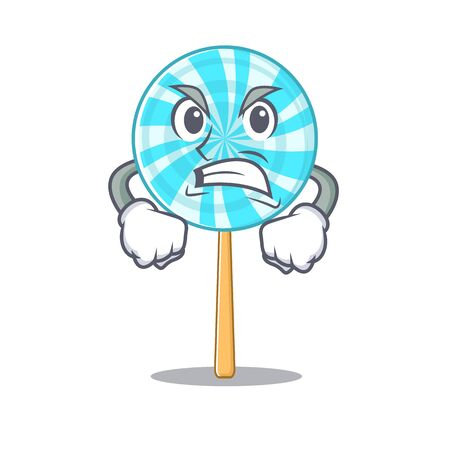 illustration of angry lollipop mascot vector illustration.Vector illustration