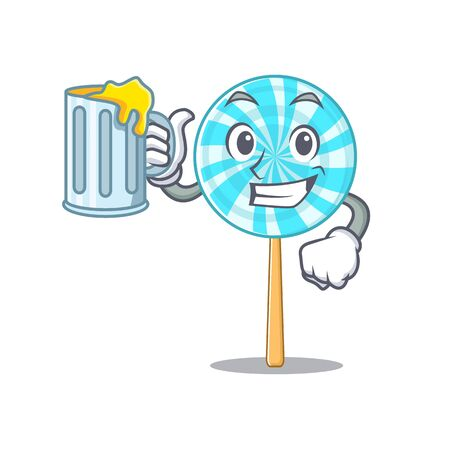 Happy lollipop holding a glass with juice. Vector ilustration