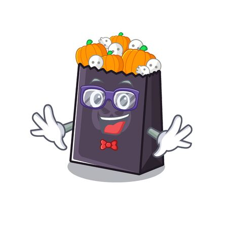 Geek halloween bag stored in character drawer vector illustration