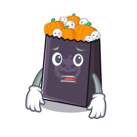 Afraid halloween bag in the a cartoon vector illustration Illustration