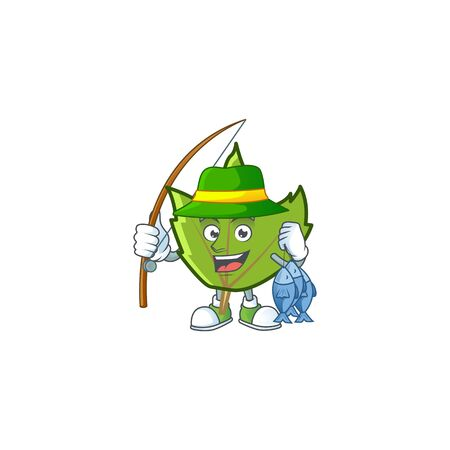 green autumn leaves with fishing character on white background