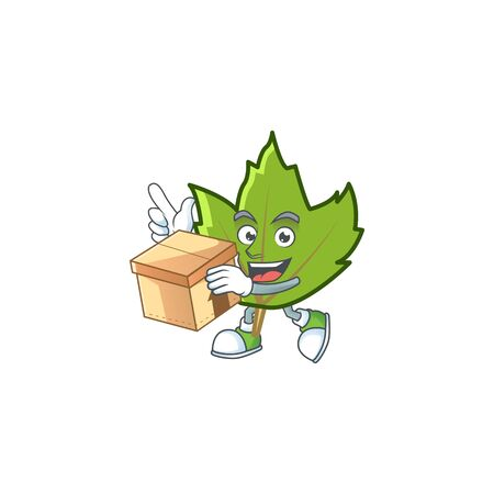 cartoon green autumn leaves design mascot with bring box.