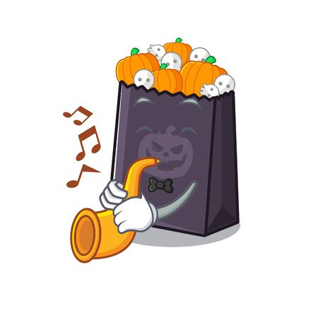 With trumpet halloween bag in the a cartoon vector illustration