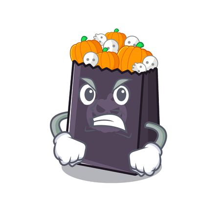 Angry halloween bag in the a cartoon vector illustration