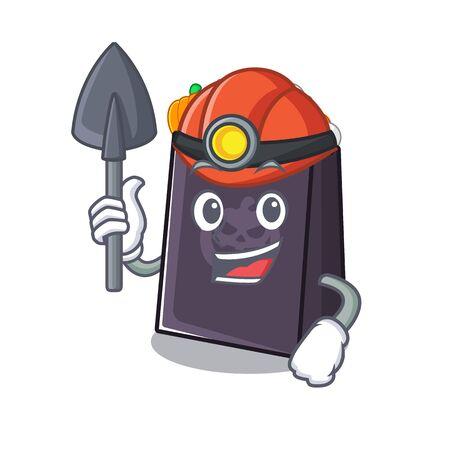 Miner halloween bag in the a cartoon vector illustration