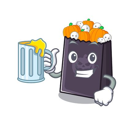With juice halloween bag in the a cartoon vector illustration