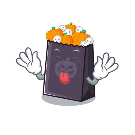Tongue out halloween bag with the mascot shape vector illustration