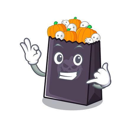 Call me halloween bag with the mascot shape vector illustration
