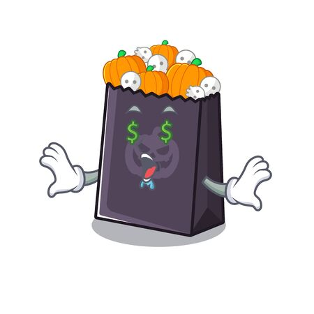 Money eye halloween bag with the mascot shape vector illustration Stock Illustratie