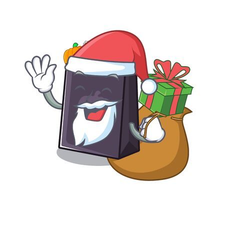Santa with gift halloween bag with the mascot shape vector illustration