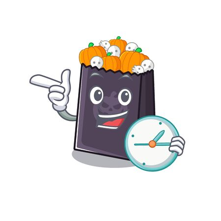 With clock halloween bag stored in character drawer vector illustration Illustration