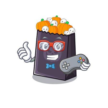 Gamer halloween bag in the a cartoon vector illustration Illustration