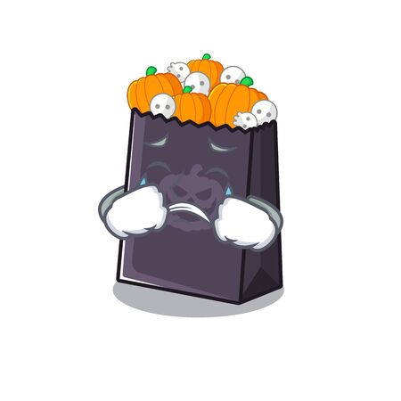 Crying halloween bag in the a cartoon vector illustration Stock Illustratie