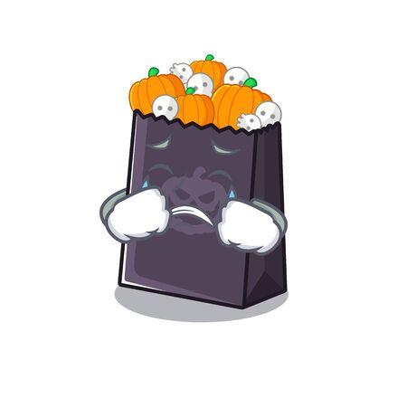 Crying halloween bag in the a cartoon vector illustration Illustration