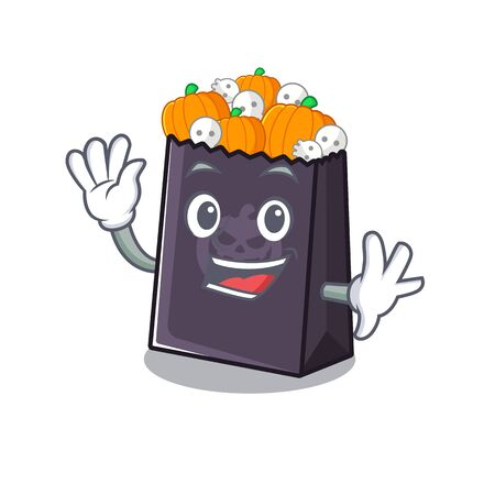 Waving halloween bag stored in character drawer vector illustration
