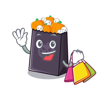 Shopping halloween bag stored in character drawer vector illustration