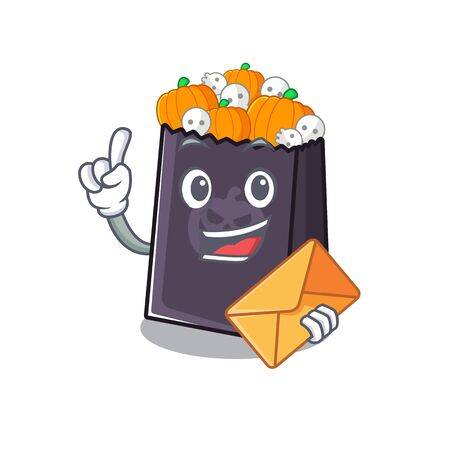 With envelope halloween bag stored in character drawer vector illustration