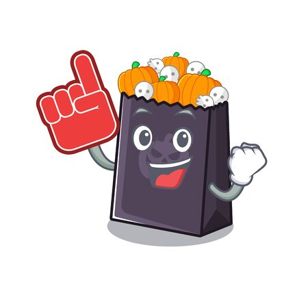 Foam finger halloween bag with the mascot shape vector illustration