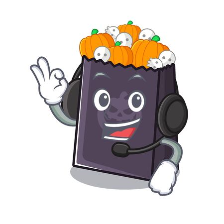 With headphone halloween bag with the mascot shape vector illustration