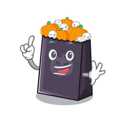 Finger halloween bag with the mascot shape vector illustration