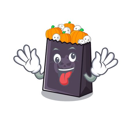 Crazy halloween bag with the mascot shape vector illustration