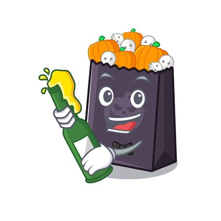 With beer halloween bag with the mascot shape vector illustration Stock Illustratie