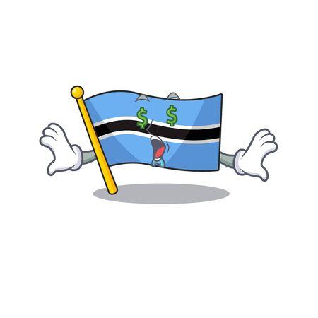 money eye flag botswana cartoon in a character.Vector illustration