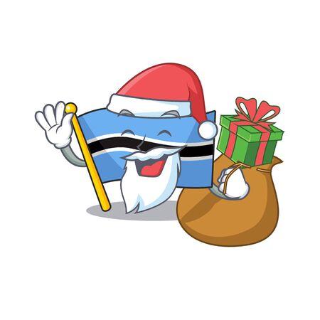 flag botswana cartoon in santa bring gift a character.Vector illustration