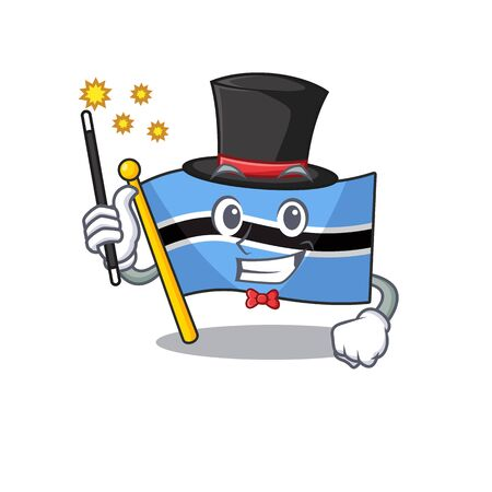 flag botswana cartoon in a character magician.Vector illustration