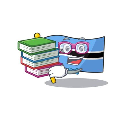 flag botswana cartoon in a character student bring book .Vector illustration