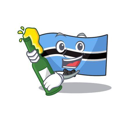 flag botswana cartoon in bring beer a character.Vector illustration Ilustrace