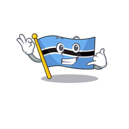 flag botswana cartoon call me in a character.Vector illustration