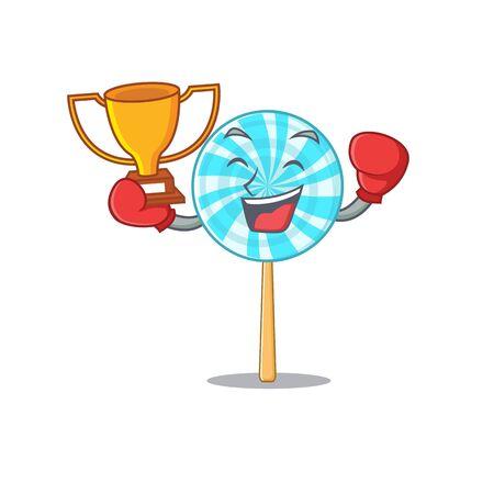 lollipop in a mascot boxing winner candy basket.Vector illustration