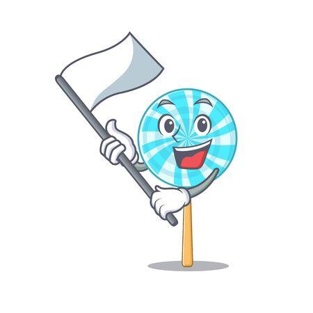 bring flag lollipop in a mascot candy basket.Vector illustration