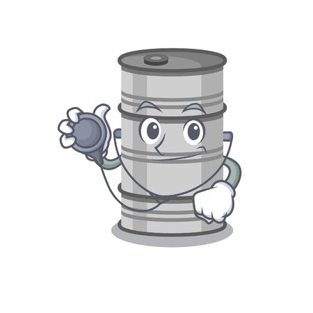 Oil drum in a doctor dressed with tools. Vector illustration Illustration