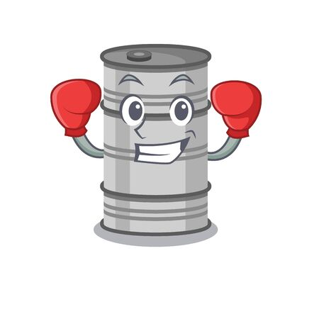 Funny oil drum in red boxing cartoon character.Vector illustration