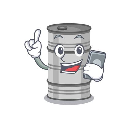 mascot cartoon style of oil drum speaking With phone.Vector illustration
