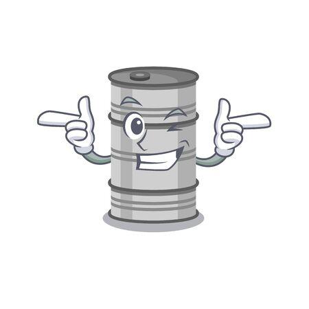 Funny joyful oil drum on Wink mascot cartoon style.Vector illustration 向量圖像