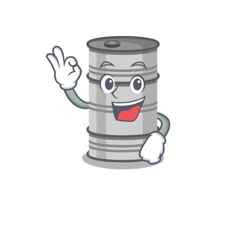 Sweet oil drum on cartoon character making an okay gesture. Vector illustration