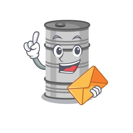 Happy face oil drum mascot cartoon style with envelope.Vector illustration