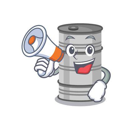 Funny cartoon style of oil drum With megaphone.Vector illustration Ilustração