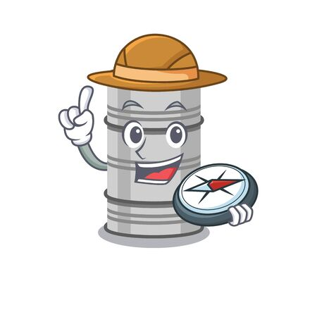 Explorer oil drum cartoon character holding a compass.Vector illustration