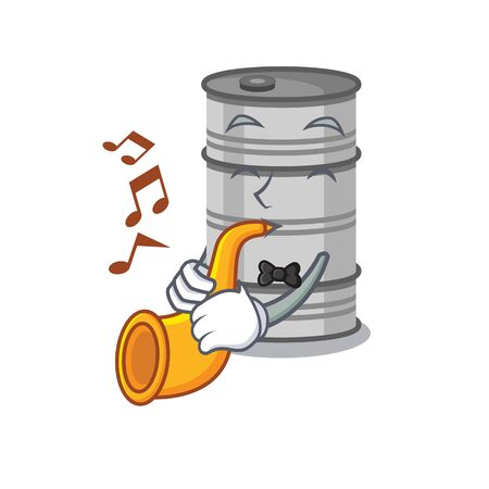 Supper cool oil drum cartoon character performance With trumpet.Vector illustration