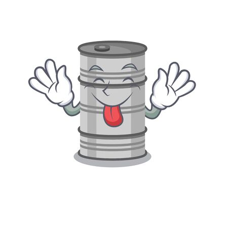 Super cute oil drum cartoon design with tongue out.Vector illustration