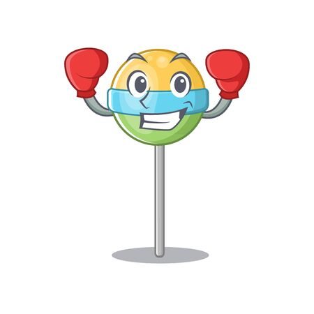 character round lollipop cartoon shape with boxing . Vector illustration