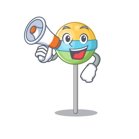 character round lollipop with holding megaphone cartoon shape . Vector illustration