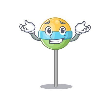 round lollipop isolated with cartoon grinning vector. Vector illustration